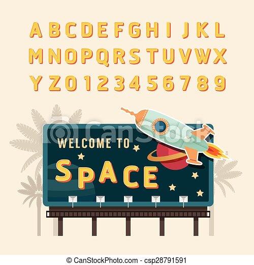 Vector Vintage Space Rocket Billboard Sign Signboard Banner With Fonts Set
