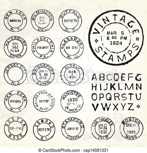 Vector Vintage Stamp Set - csp14581331