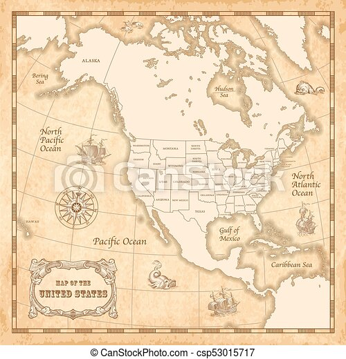 Vector vintage us map. Vector vintage map of the unites states of ...