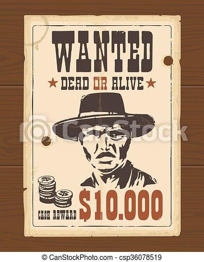 Vector Vintage western retro Wanted Poster - csp36078519