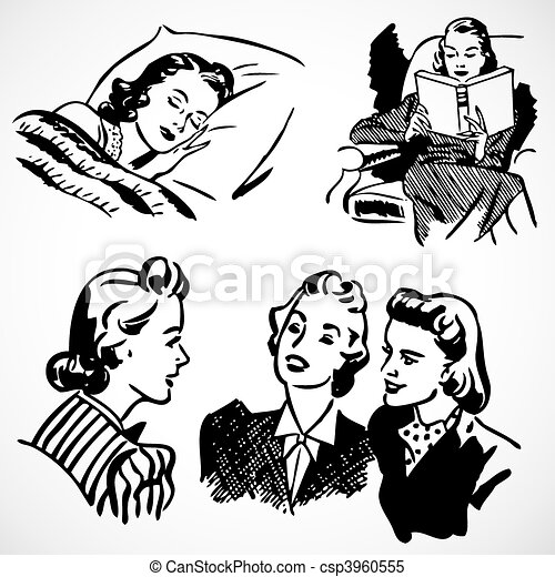 Clipart Vector Of Vintage Women At Home