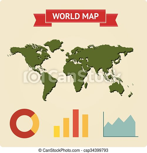 Vector vintage world map with infographic charts eps vectors vector vintage world map with infographic gumiabroncs Gallery