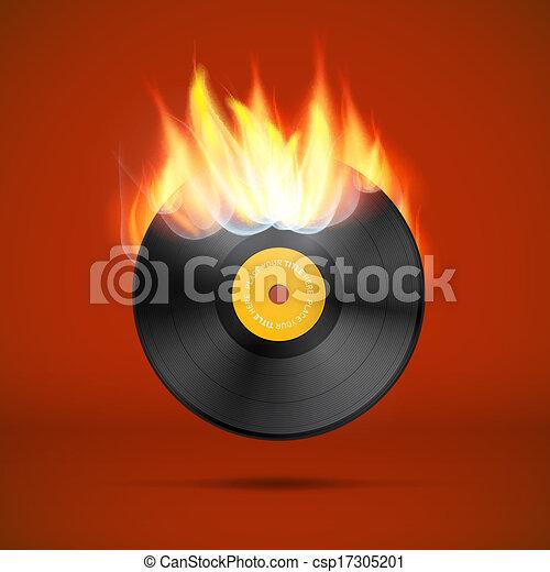 Vector Vinyl Record Disc in Flames - csp17305201