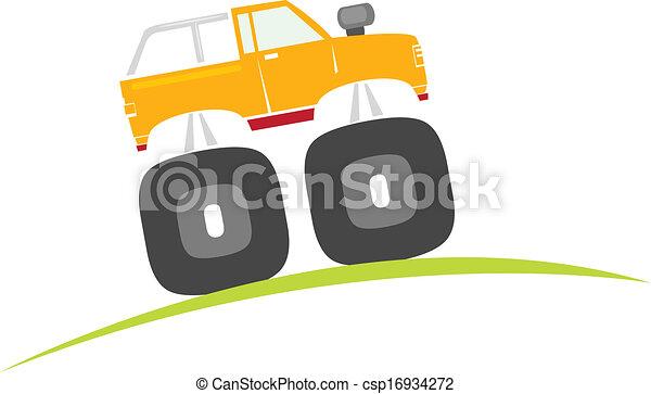 vector, vrachtwagen, spotprent, monster - csp16934272