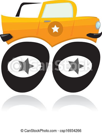 vector, vrachtwagen, spotprent, monster - csp16934266