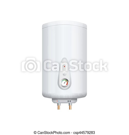 Vector water boiler heater isolated on white. Boiler apparatus. Domestic boil burner device - csp44579283