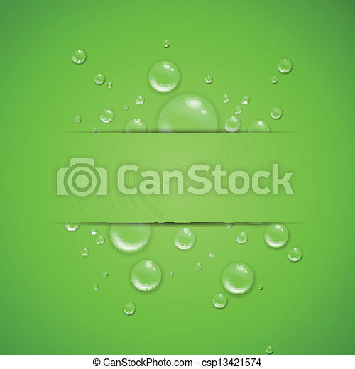 Vector Water Drops on a Green Background - csp13421574