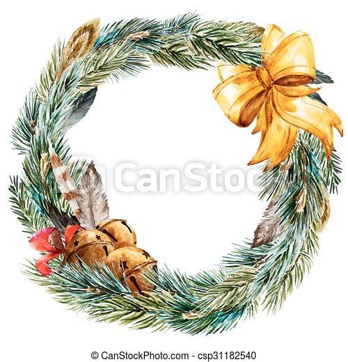 Vector Watercolor Christmas Wreath Beautiful Vector Image With Nice