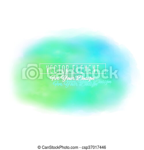 Vector watercolor spot. Watercolor background. Colorful abstract texture. Blue and green colors - csp37017446