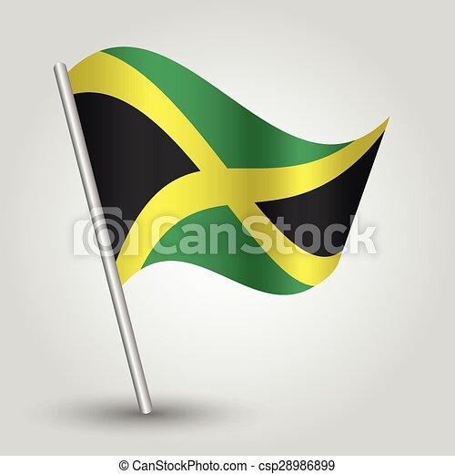 Vector Waving Simple Triangle Jamaican Flag On Pole National