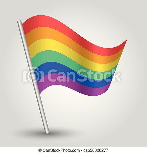 Vector waving simple triangle rainbow flag on slanted ...