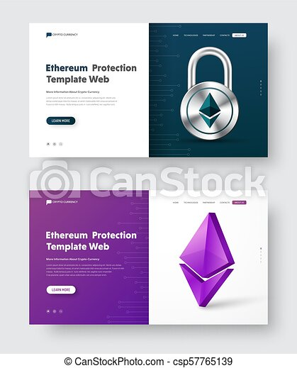 Vector web banner design with padlock and 3d coin Ethereum icon - csp57765139