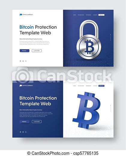 Vector web banner template with padlock and 3d bitcoin icon. - csp57765135
