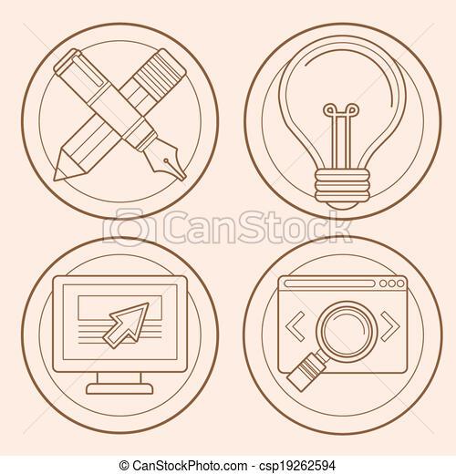 Vector web design and development emblems - csp19262594