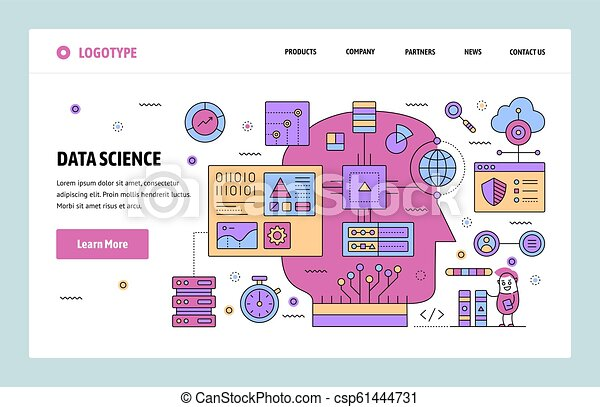 Vector web site linear art design template  Data science and machine  learning  AI computer network  Landing page concepts for website and mobile