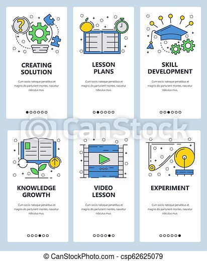 98469d0b5 Vector Web Site Linear Art Onboarding Screens Template. School Lessons And  Online Education. Video