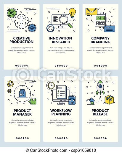 Release Planning Template   Vector Web Site Linear Art Onboarding Screens Template Business