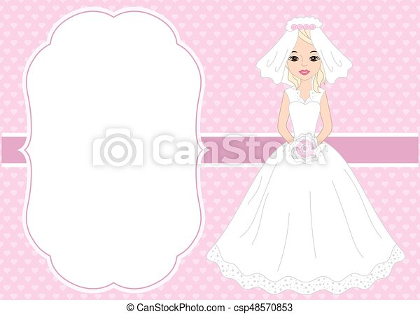 Vector wedding card template with beautiful bride. vector... clipart ...