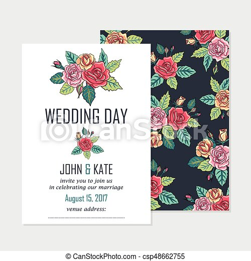 Vector wedding invitation card with roses decoration eps vector wedding invitation card with roses decoration junglespirit Images