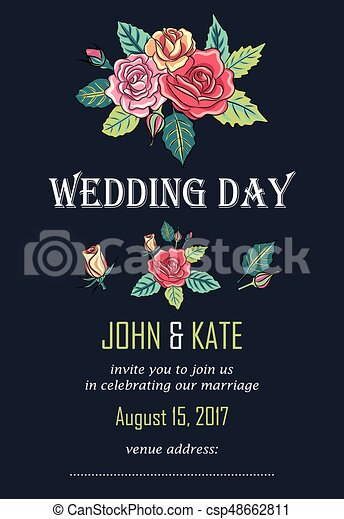Vector wedding invitation card with roses decoration eps vector vector wedding invitation card with roses decoration junglespirit Gallery