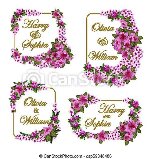 Vector Wedding Invitation Cards Of Flowers