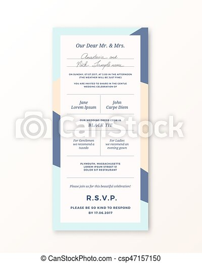 Vector wedding invitation template. modern typography and pastel ...
