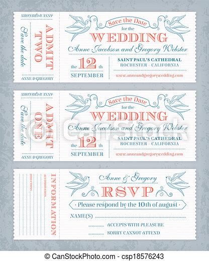 Vector Wedding Invite Tickets - csp18576243