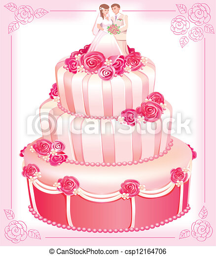 VECTOR wedding pink cake - csp12164706