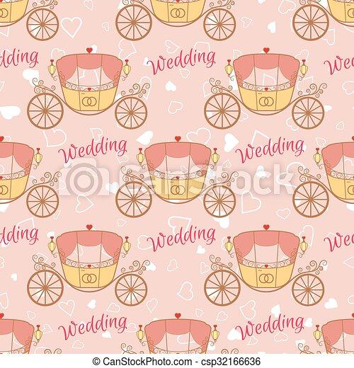 Vector wedding retro carriage seamless pattern - csp32166636