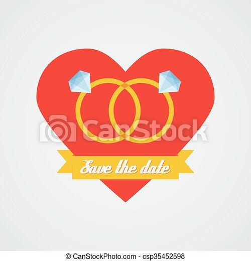 Vector wedding rings icon. Flat design - csp35452598