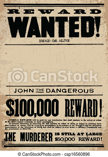 Vector Western Wanted Reward Poster Template - csp16560896
