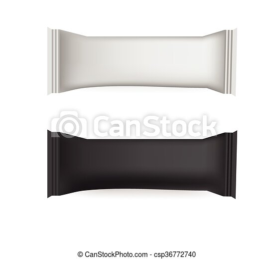 Vector blank food packaging for biscuit, wafer, crackers, sweets ...