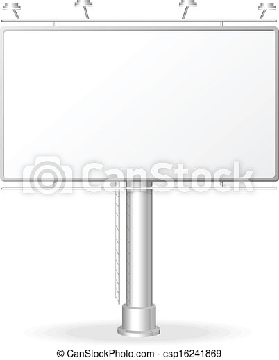 Vector White Billboard Screen Template Isolated On White
