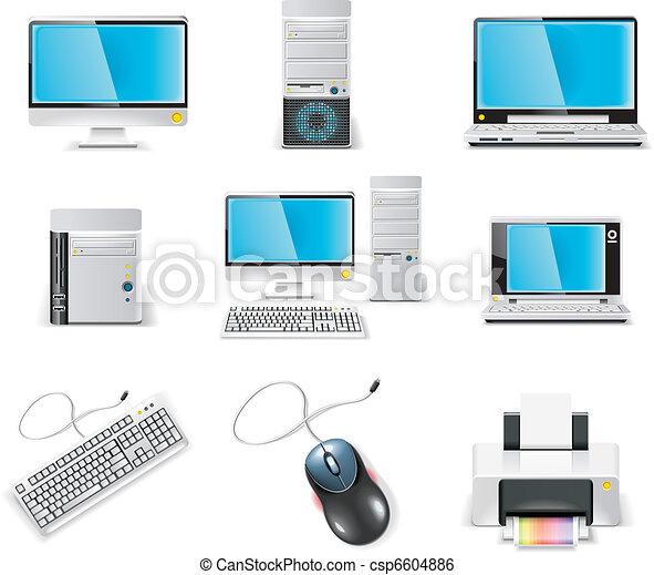 Vector white computer icon.  - csp6604886