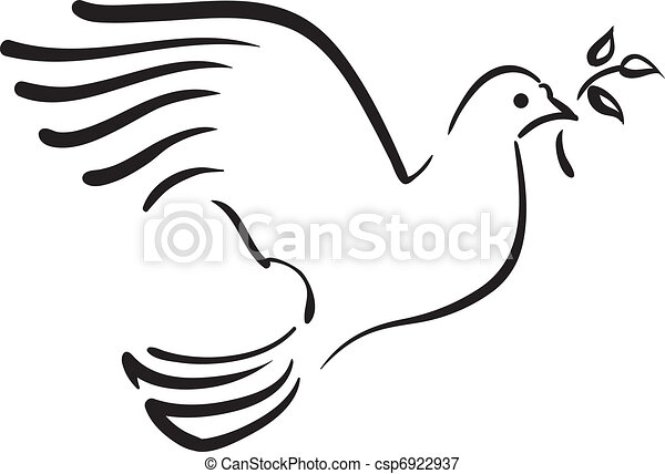 Vector white dove with branch - csp6922937