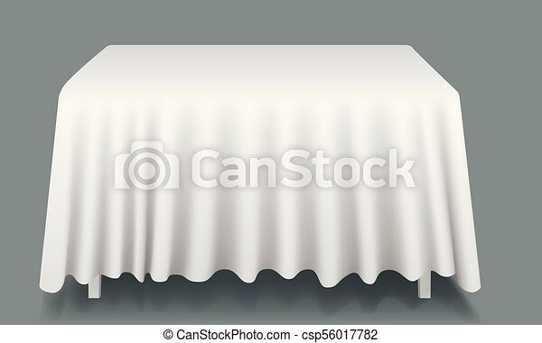 Vector White Empty Rectangular Table With Tablecloth Isolated.