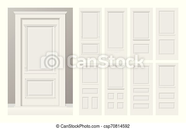 Vector white painted interior wooden doors set in flat ...