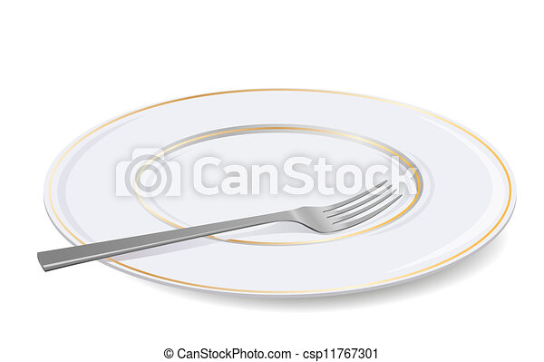 Vector  white plate and fork. - csp11767301