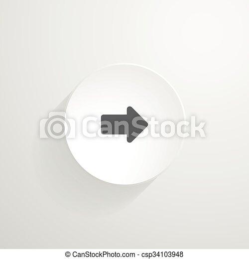 Vector white round button. Arrow icon - csp34103948