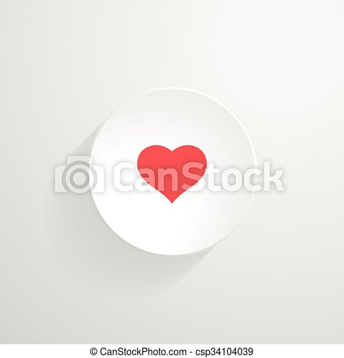 Vector white round button. Heart icon - csp34104039