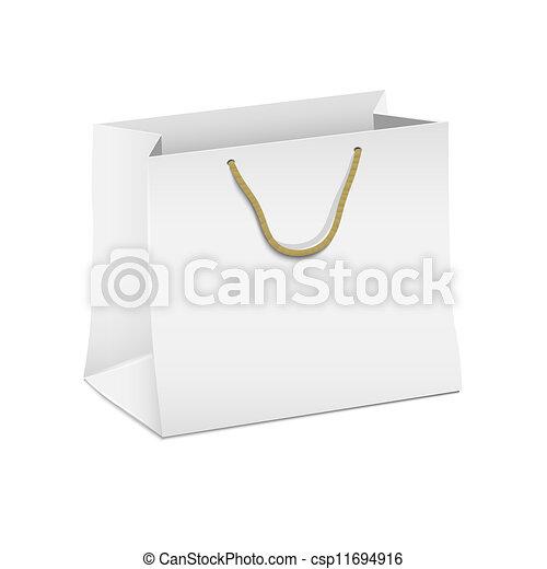 Vector white shopping paper bag - csp11694916