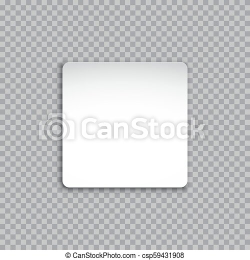 Vector white square sticker isolated on transparent background. - csp59431908