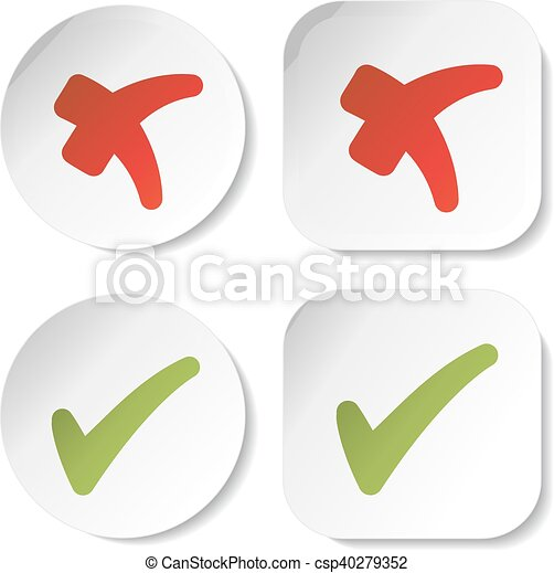 Vector white stickers with check mark symbols, circular and squared buttons - csp40279352