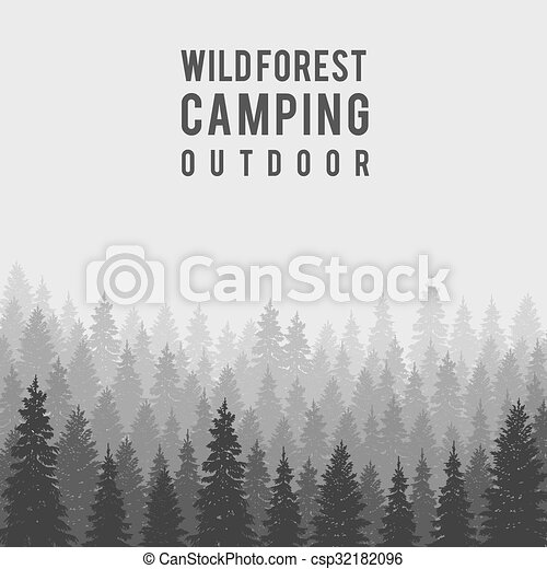 vector wild coniferous forest background outdoor camping design
