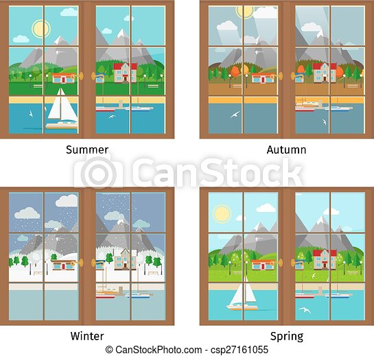 Vector Window In Different Season  sc 1 st  Can Stock Photo & Vector window in different season. summer and autumn spring and ...