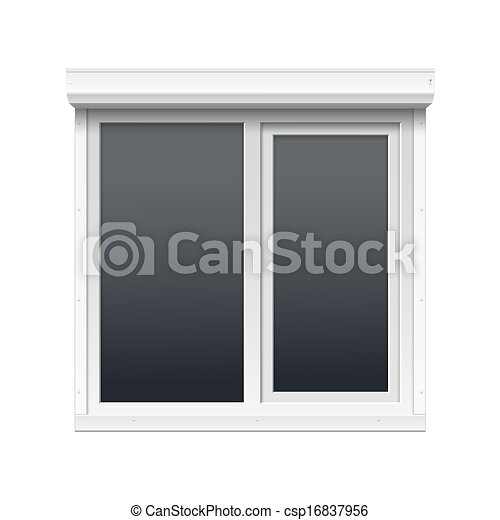 Vector Window with Rolling Shutters - csp16837956