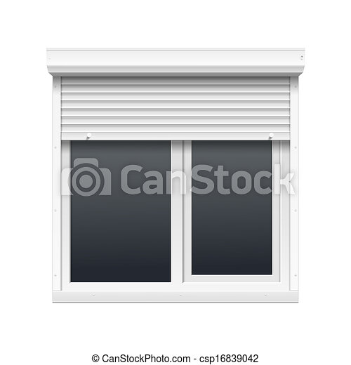 Vector Window with Rolling Shutters - csp16839042