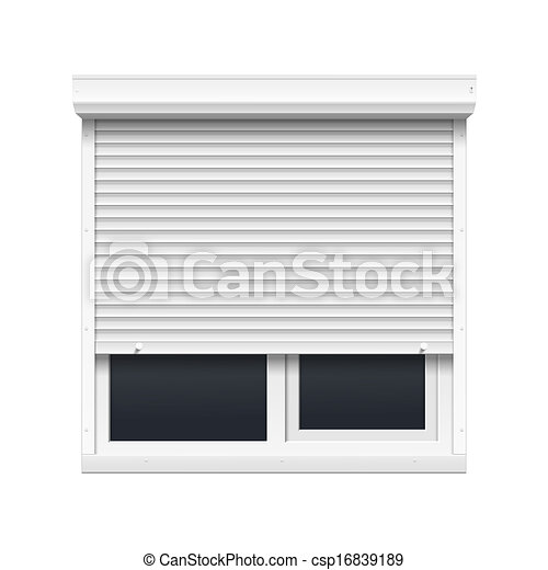 Vector Window with Rolling Shutters - csp16839189