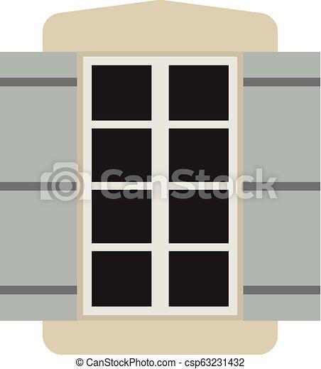 Vector window with shutters. - csp63231432