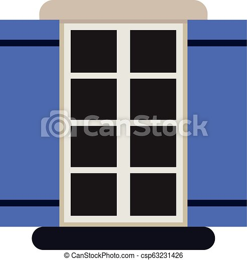 Vector window with shutters. - csp63231426